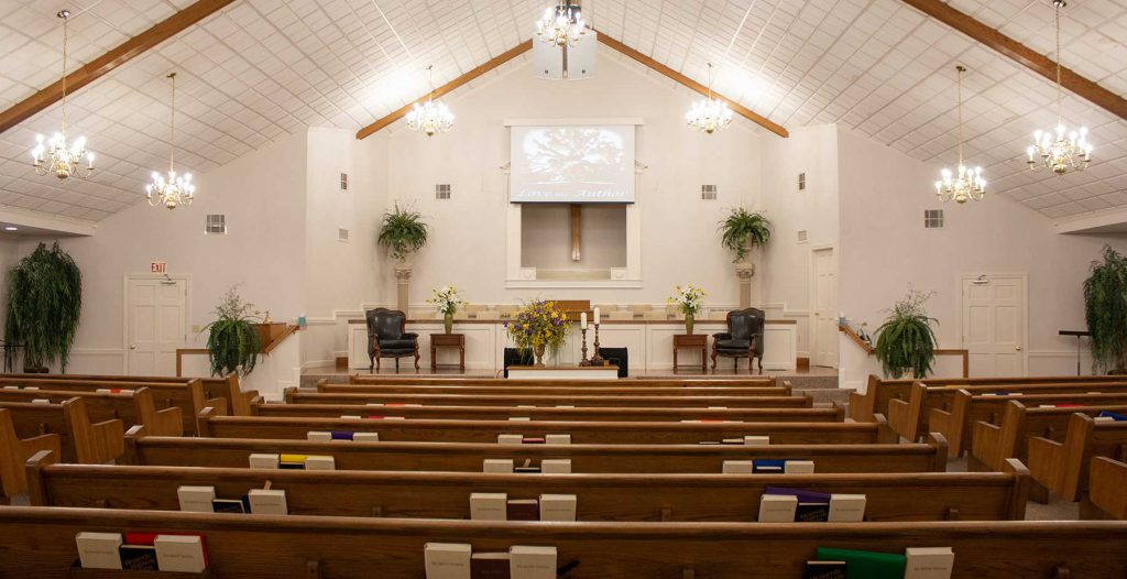 a photo of Cathedral Baptist's sanctuary with no people