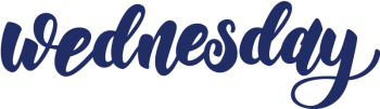 The word Wednesday in a fun blue script
